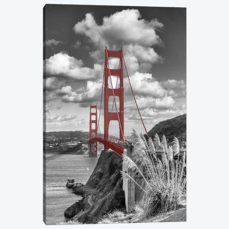 Iconic Golden Gate Bridge   Colorkey Canvas Print #MEV745} by Melanie Viola Canvas Art