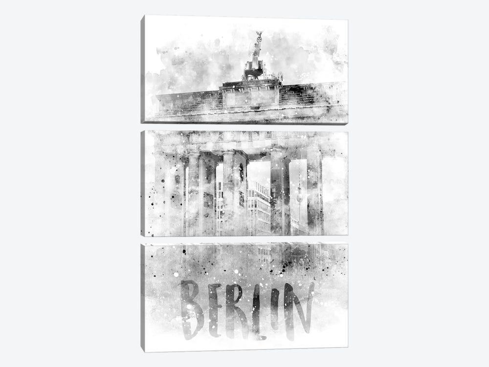 Monochrome Berlin Brandenburg Gate  by Melanie Viola 3-piece Art Print