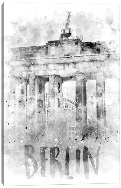 Monochrome Berlin Brandenburg Gate  Canvas Art Print