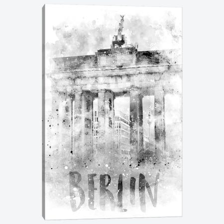 Monochrome Berlin Brandenburg Gate  Canvas Print #MEV74} by Melanie Viola Canvas Wall Art