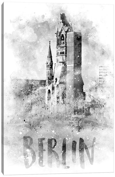 Monochrome Berlin Kaiser Wilhelm Memorial Church Canvas Art Print