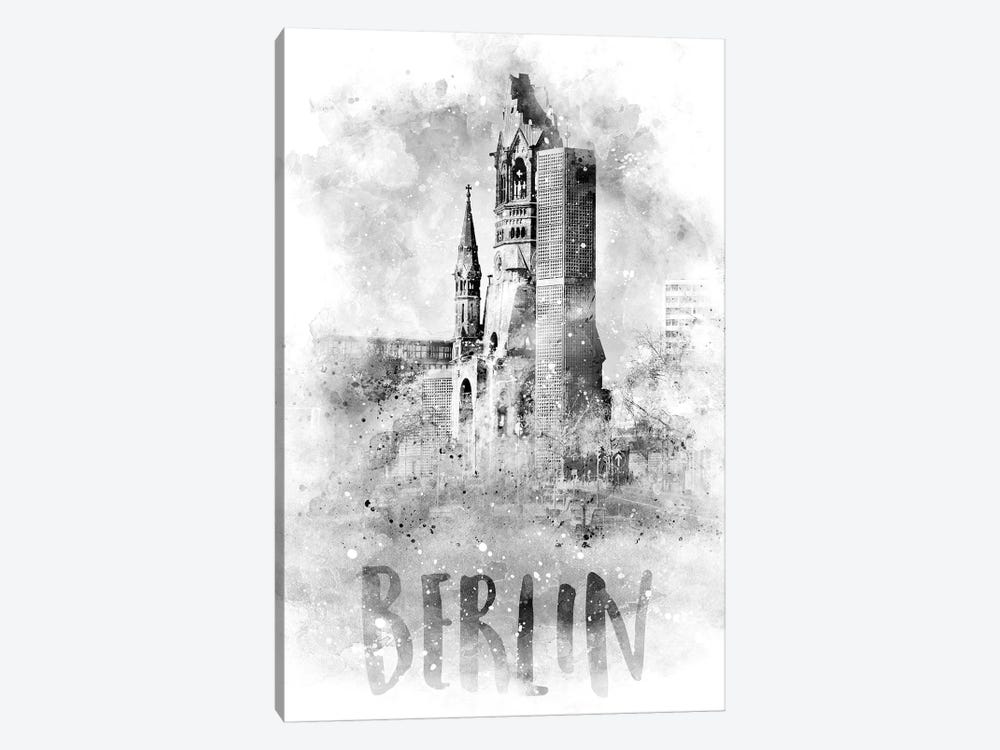 Monochrome Berlin Kaiser Wilhelm Memorial Church by Melanie Viola 1-piece Canvas Art