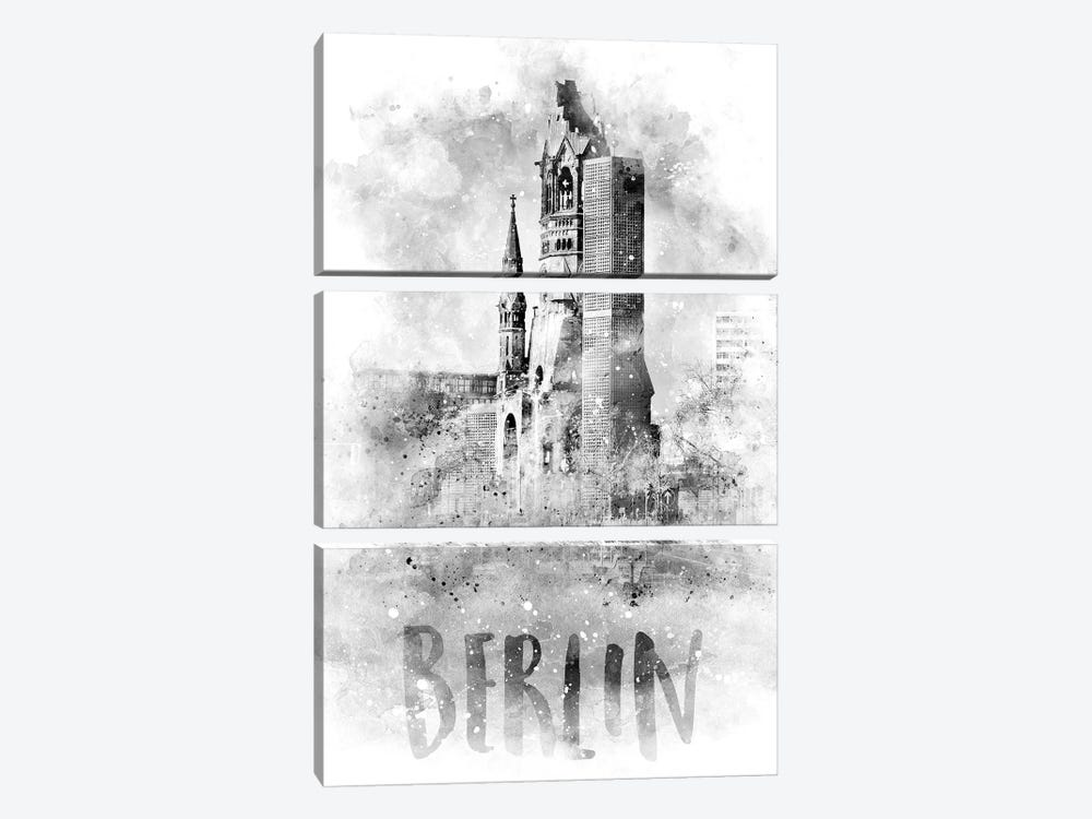 Monochrome Berlin Kaiser Wilhelm Memorial Church by Melanie Viola 3-piece Canvas Wall Art