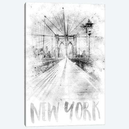 Monochrome NYC Brooklyn Bridge Canvas Print #MEV78} by Melanie Viola Canvas Print