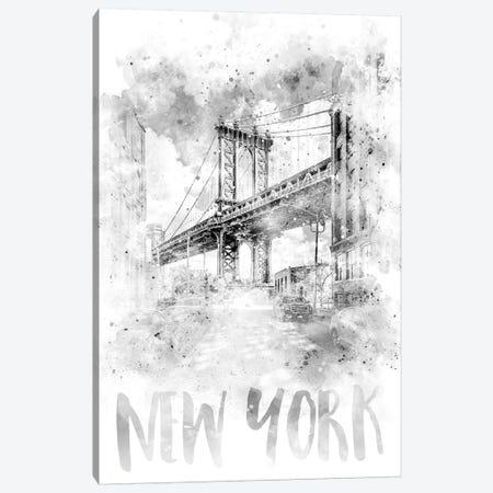 Monochrome NYC Manhattan Bridge  Canvas Print #MEV79} by Melanie Viola Canvas Print