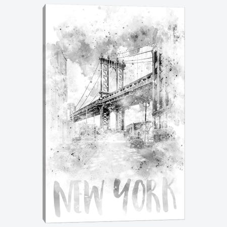 Monochrome NYC Manhattan Bridge  Canvas Print #MEV79} by Melanie Viola Canvas Print