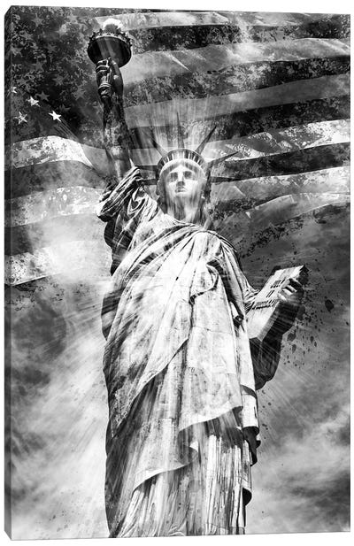 Monochrome Statue Of Liberty Canvas Art Print