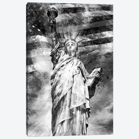 Monochrome Statue Of Liberty Canvas Print #MEV80} by Melanie Viola Canvas Artwork