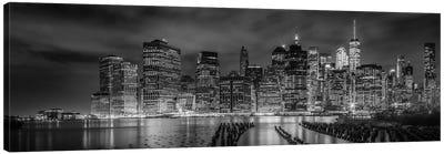 New York City Monochrome Night Impressions Canvas Art Print