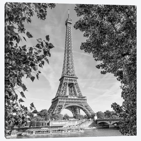 Paris Eiffel Tower & River Seine Canvas Print #MEV93} by Melanie Viola Canvas Print