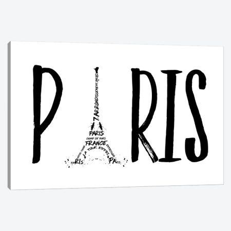 Paris Typography Canvas Print #MEV94} by Melanie Viola Canvas Artwork