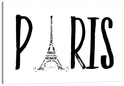 Paris Typography Canvas Art Print