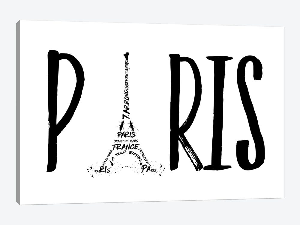 Paris Typography by Melanie Viola 1-piece Canvas Print