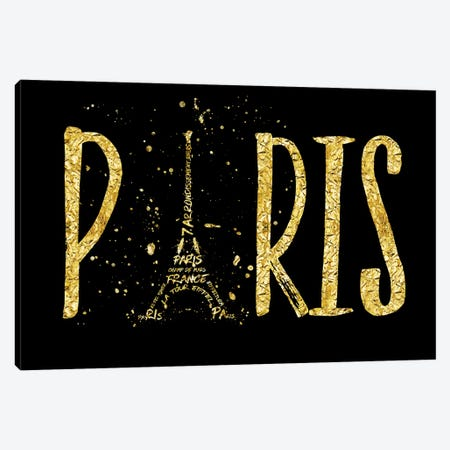 Paris Typography - Gold Splashes Canvas Print #MEV95} by Melanie Viola Canvas Wall Art