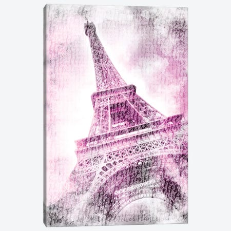 Paris Watercolor Eiffel Tower In Pink Canvas Print #MEV96} by Melanie Viola Canvas Artwork