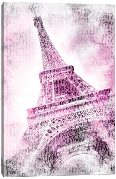 Paris Watercolor Eiffel Tower In Pink Canvas Art Print