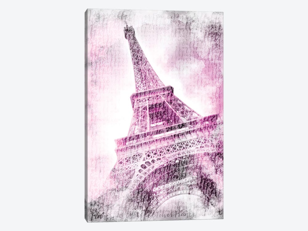 Paris Watercolor Eiffel Tower In Pink 1-piece Canvas Print