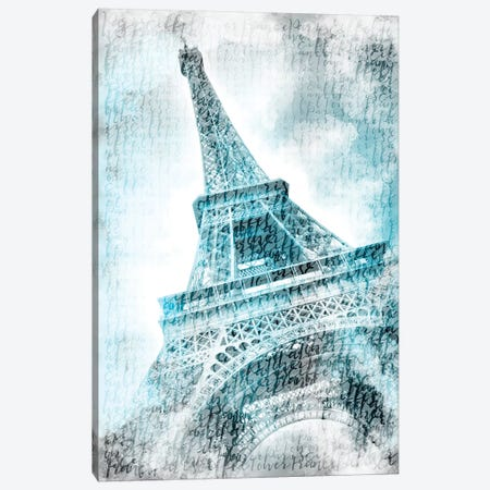 Paris Watercolor Eiffel Tower In Turquoise Canvas Print #MEV97} by Melanie Viola Canvas Wall Art