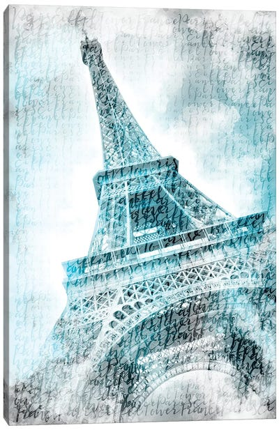 Paris Watercolor Eiffel Tower In Turquoise Canvas Art Print