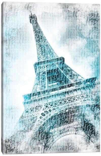 Paris Watercolor Eiffel Tower In Turquoise Canvas Art Print
