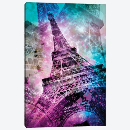 Pop Art Eiffel Tower Canvas Print #MEV98} by Melanie Viola Canvas Art Print