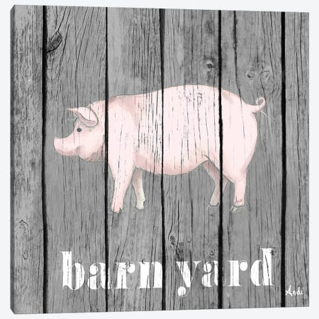 Barnyard Pig Canvas Print #MEZ2} by Andi Metz Canvas Wall Art