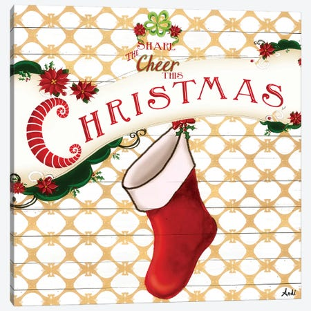 Gold Christmas Cheer I 3-Piece Canvas #MEZ30} by Andi Metz Canvas Print
