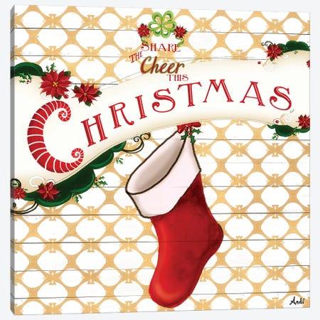 Gold Christmas Cheer I Canvas Print #MEZ30} by Andi Metz Canvas Print