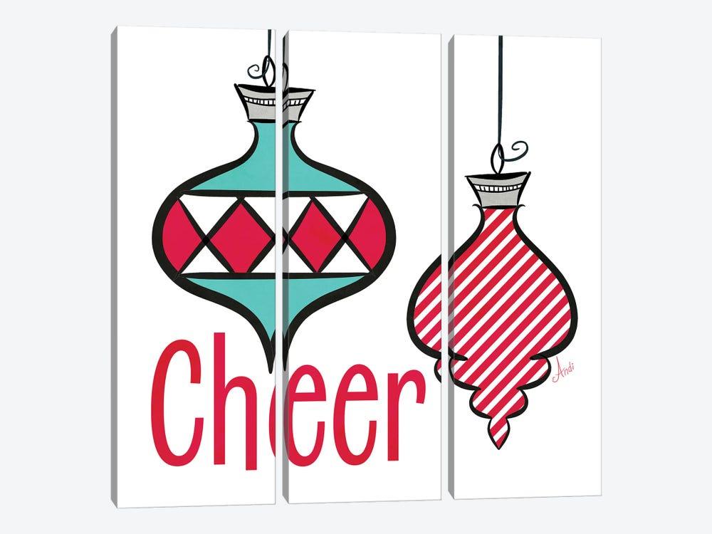Joyful Christmas Ornaments I by Andi Metz 3-piece Art Print