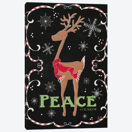 Peace on Earth Deer Canvas Print #MEZ38} by Andi Metz Art Print