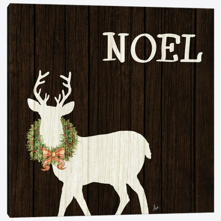 Wooden Deer with Wreath I Canvas Print #MEZ49} by Andi Metz Canvas Art