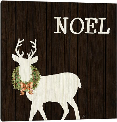 Wooden Deer with Wreath I Canvas Art Print