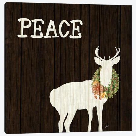 Wooden Deer with Wreath II Canvas Print #MEZ50} by Andi Metz Canvas Print