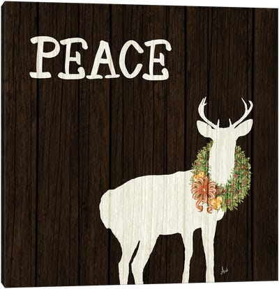 Wooden Deer with Wreath II Canvas Art Print