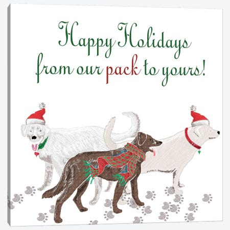 Woof Holiday Pack I Canvas Print #MEZ51} by Andi Metz Art Print