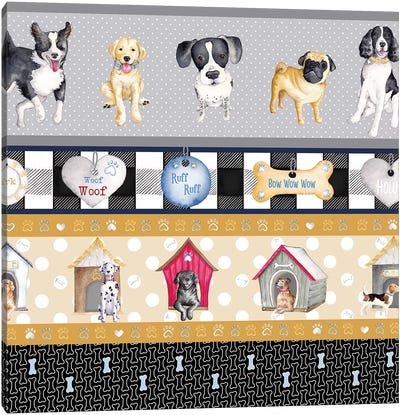 A Dogs Life On Plaid Panels Canvas Art Print