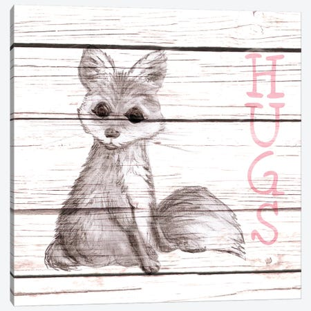 Fox Hugs Canvas Print #MEZ62} by Andi Metz Canvas Wall Art
