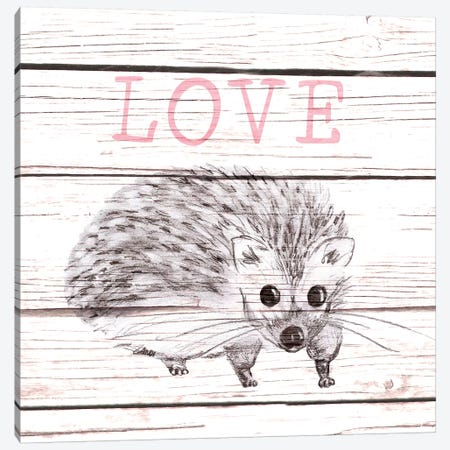 Hedgehog Love Canvas Print #MEZ69} by Andi Metz Canvas Artwork
