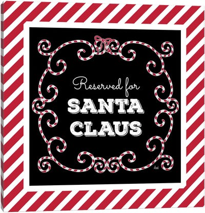 Reserved For Santa On Candy Cane Red Stripes Canvas Art Print