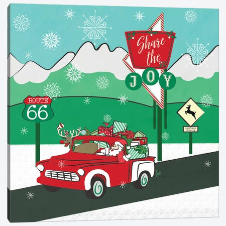 Retro Santa DrivIng I Canvas Print #MEZ88} by Andi Metz Canvas Artwork