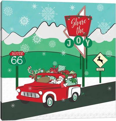 Retro Santa DrivIng I Canvas Art Print