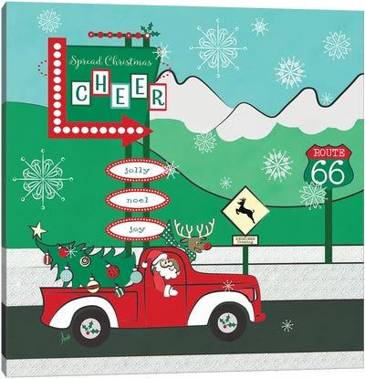 Retro Santa DrivIng II Canvas Art Print