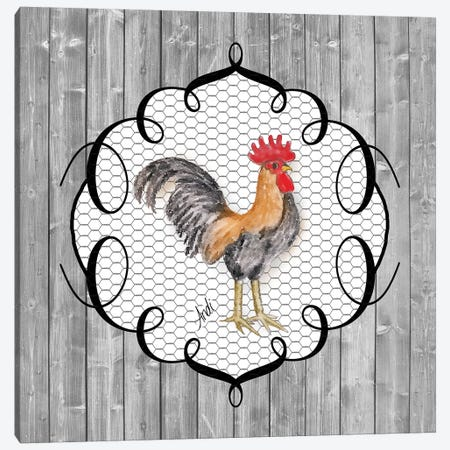 Rooster On The Roost I 3-Piece Canvas #MEZ90} by Andi Metz Art Print