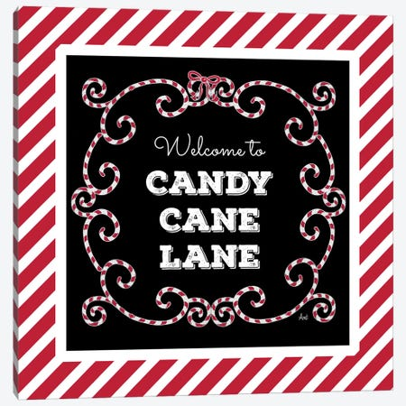 Welcome To Candy Cane Lane Canvas Print #MEZ97} by Andi Metz Canvas Wall Art