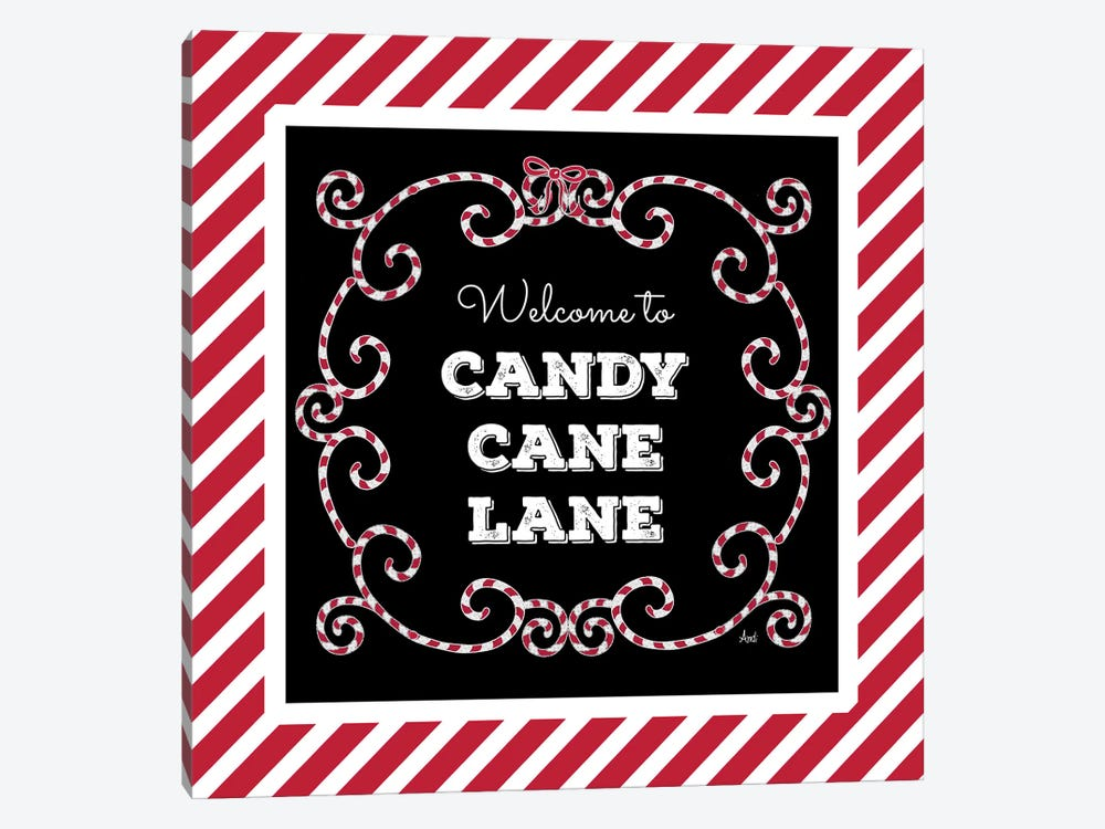 Welcome To Candy Cane Lane by Andi Metz 1-piece Canvas Artwork