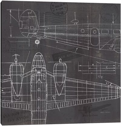 Plane Blueprint II Canvas Art Print
