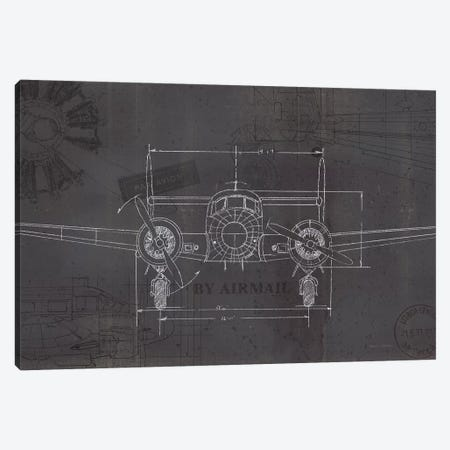 Plane Blueprint IV Wings Canvas Print #MFA13} by Marco Fabiano Canvas Art