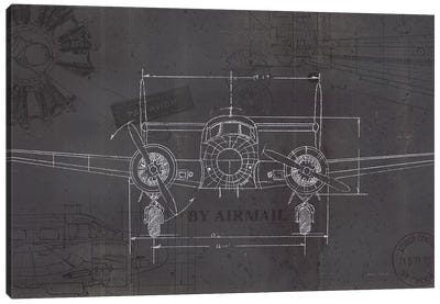 Plane Blueprint IV Wings Canvas Art Print