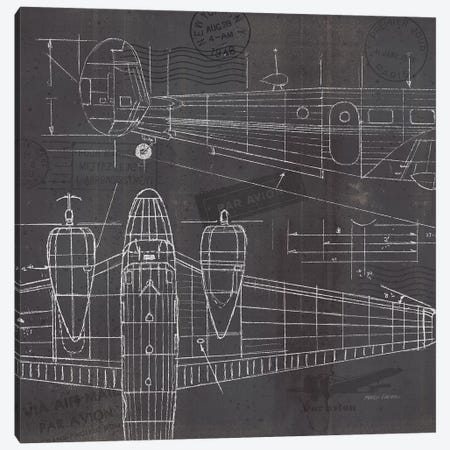 Plane Blueprint II Canvas Print #MFA17} by Marco Fabiano Canvas Print