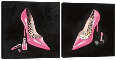 The Pink Shoe Diptych Crop Canvas Art Print